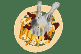 Cerfeuil tubéreux, carottes au four<br>et speck croustillant