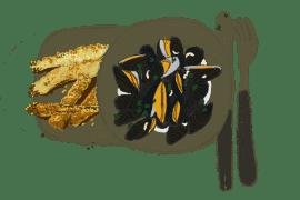 Christophines et courgettes panées, moules marinières