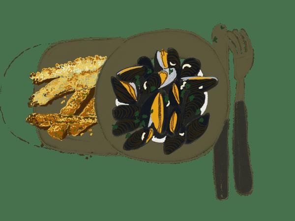 Christophines et courgettes panées, moules marinières 1