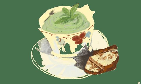 Crème de courgettes, menthe et féta 13