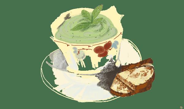 Crème de courgettes, menthe et féta
