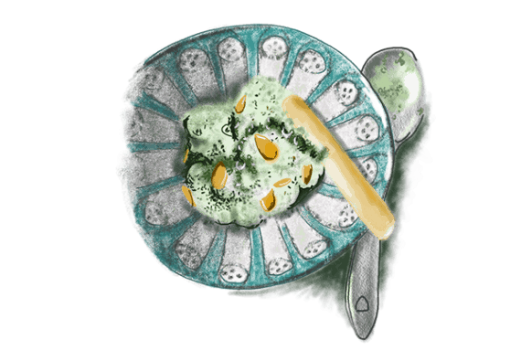 Crème de haricots verts au chèvre frais
