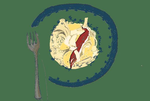 Embeurrée de chou blanc, pommes de terre et ventrèche poivrée