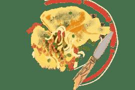 Galettes de semoule et frichti de petits pois et fenouils