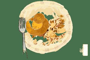 Oeuf cocotte brioché et salade d'endives à la noix