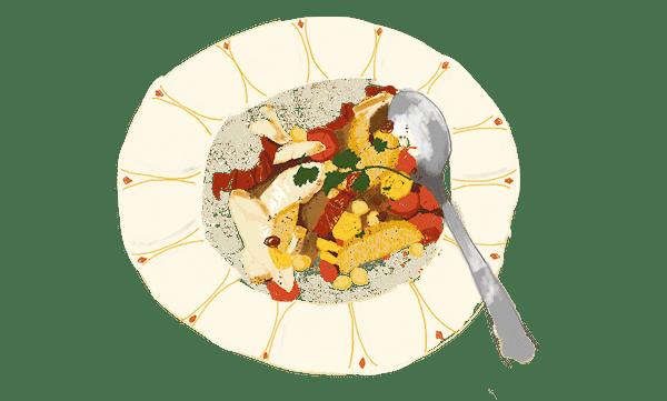 Salade tiède complète et chouette
