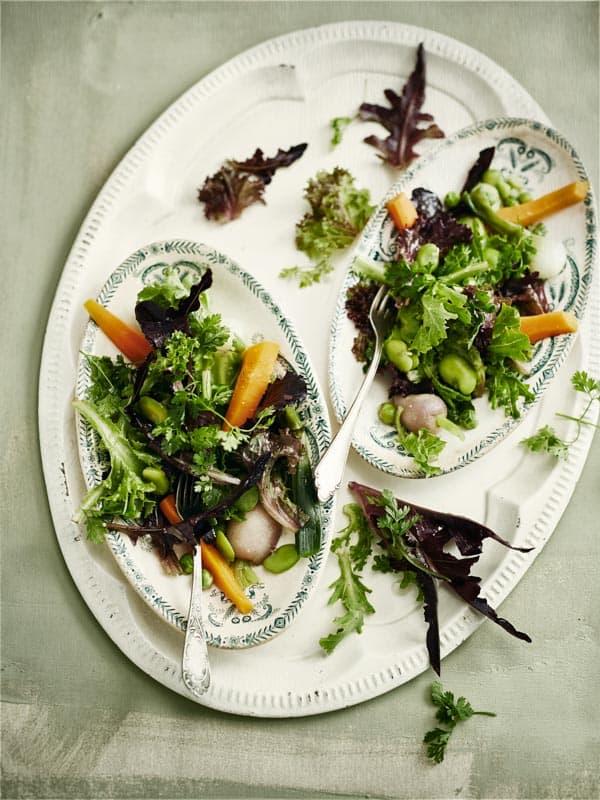 Salade de mesclun aux légumes crus et cuits