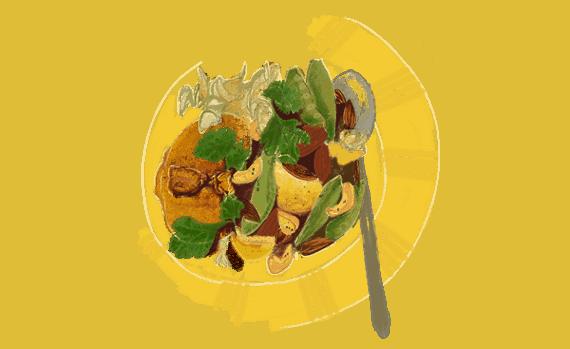 Tajine de lapin aux pois gourmands 3
