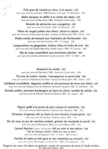 La carte en 93 : chaque plat fonctionne comme une entité avec son vin