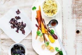 The carotte (carottes étuvées, roulés de carottes et lait de coco, carottes au miel, chips de carotte, caviar de carottes)