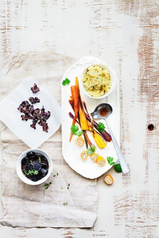 The carotte (carottes étuvées, roulés de carottes et lait de coco, carottes au miel, chips de carotte, caviar de carottes) 1