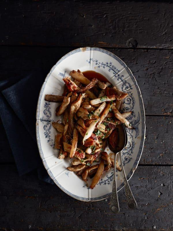 Fricassée de navet rôti et poulet grillé