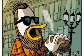 Hamburger de canard au galanga, chou braisé,<br>pommes dauphine de patates douces<br>et sésame noir