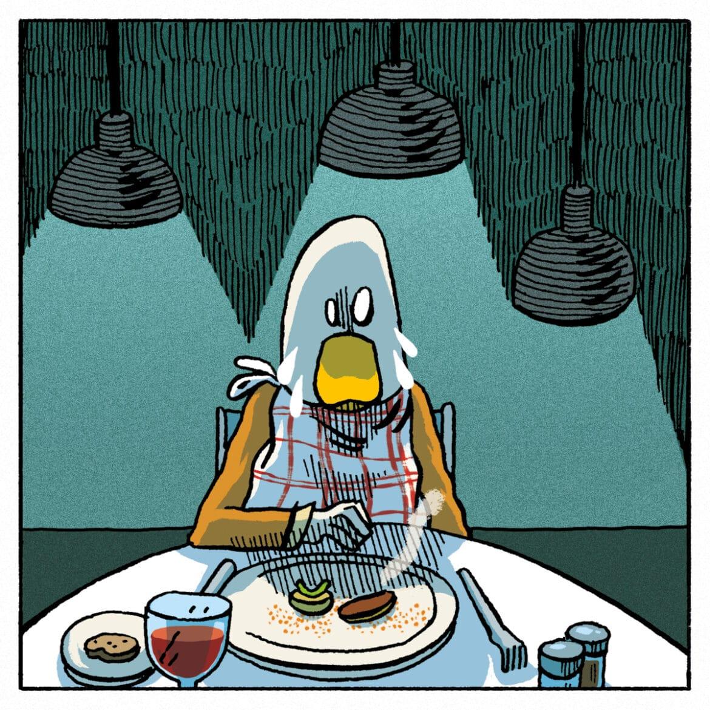 Magret de canard aux kiwis, jus et son navet glacé