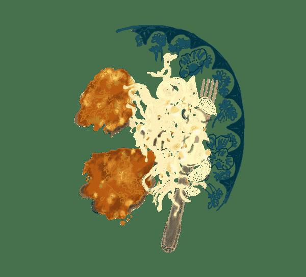 Galettes de pois chiches et salade de chou blanc