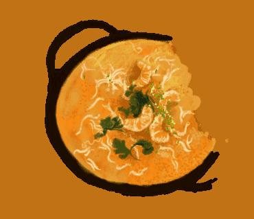 Soupe complète aux crevettes et lait de coco
