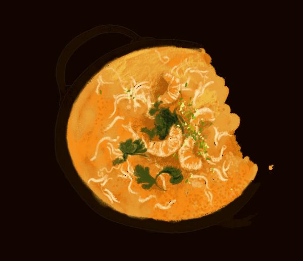 Soupe complète aux crevettes et lait de coco 1