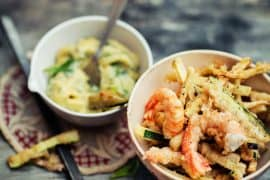 Tempura de crevettes, aubergine et courgette 3