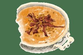 Velouté de potiron au lard et châtaignes grillées