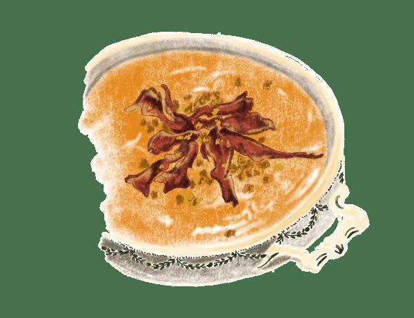Velouté de potiron au lard et châtaignes grillées 1