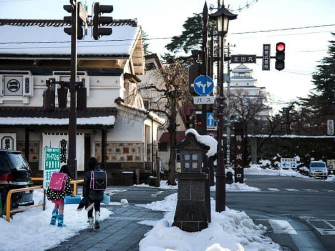 Enfants rentrant de l'école à Aizuwakamatsu copie - © 180°C Photographie Camille Oger