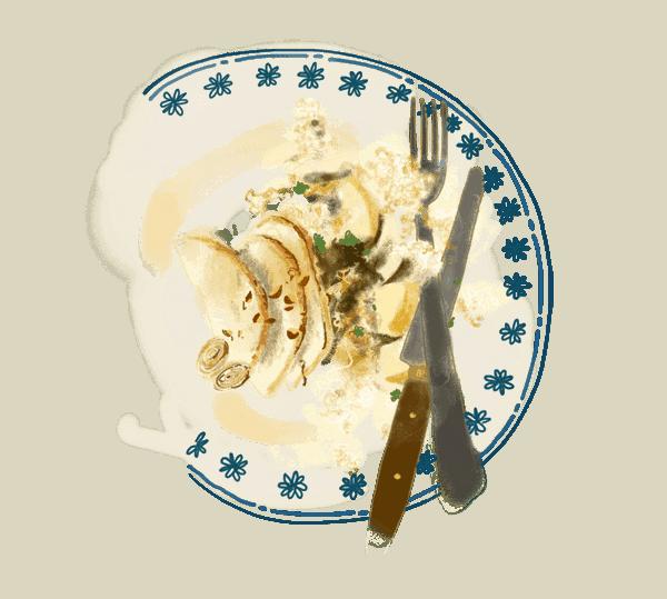 Céleri-rave aux noisettes et salade de chou chinois