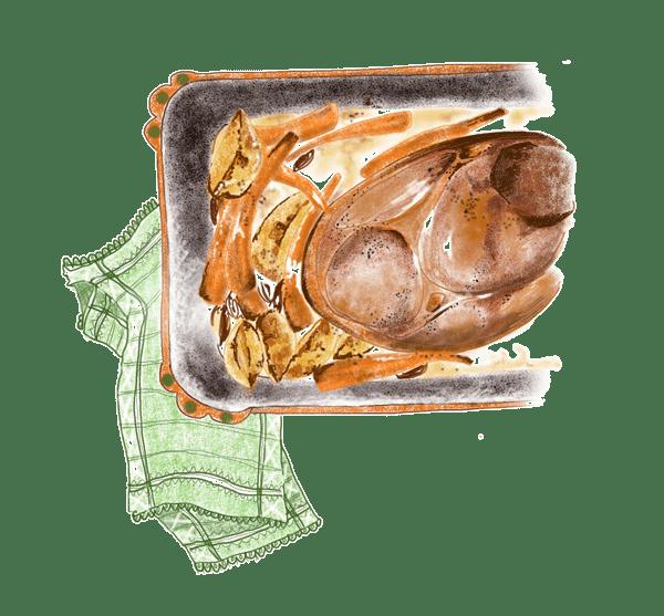 Rouelle de porc, patates et carottes