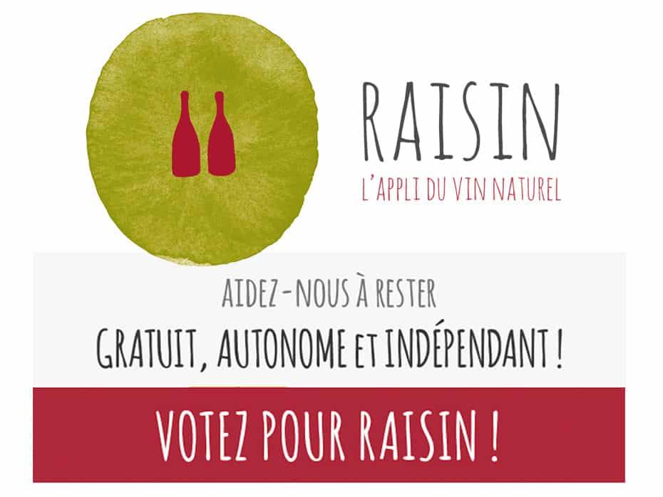 Soutenez Raisin,<br>l'appli du vin naturel ! 1