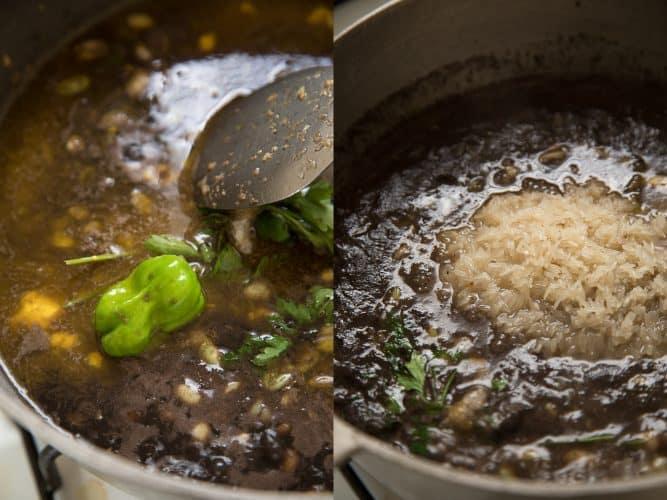 On ajoute du bouillon, du piment, du persil et le riz -© 180°C - Photographie Camille Oger