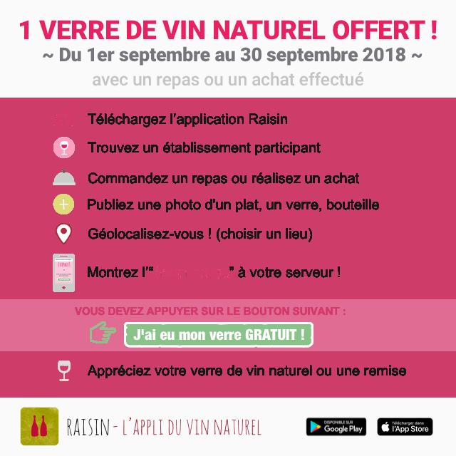 Un verre de vin naturel offert !