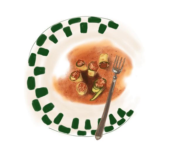 Cannellonis de courgettes au porc et au veau