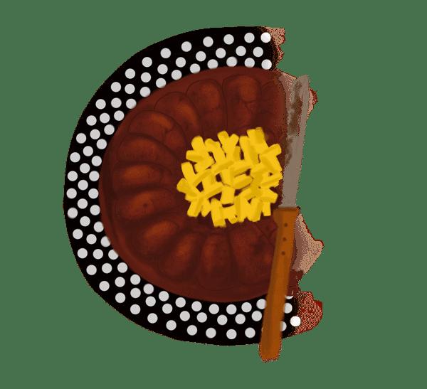 Fondant au chocolat, amandes et mangue