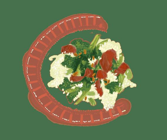 Riz au brocoli et araignée de bœuf