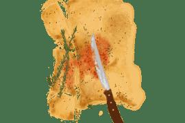 Galette au romarin et crème de poivron