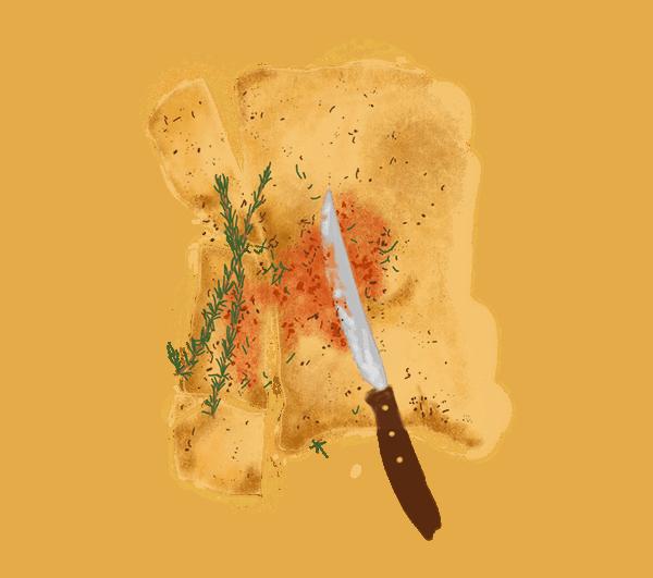 Galette au romarin et crème de poivron 1