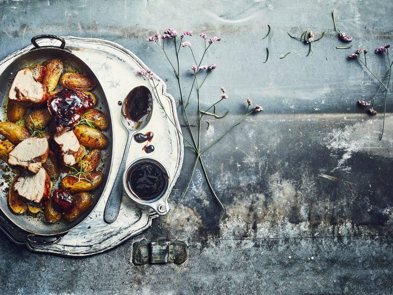 Porc au sirop d'anis étoilé et pommes de terre nouvelles