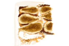 Poires rôties au miel et amandes en poudre