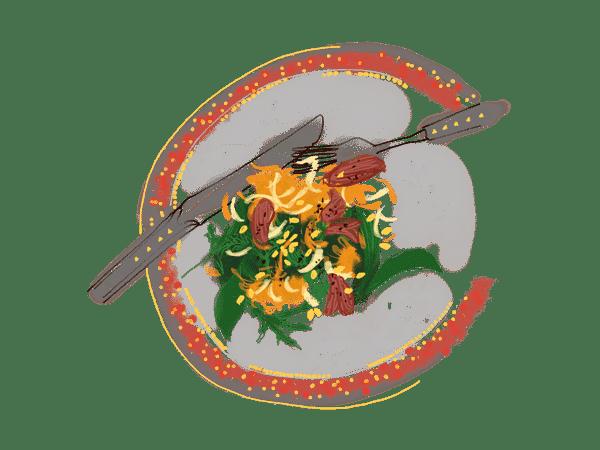 Salade d'onglet, chou-rave et carottes un peu thaïe 1