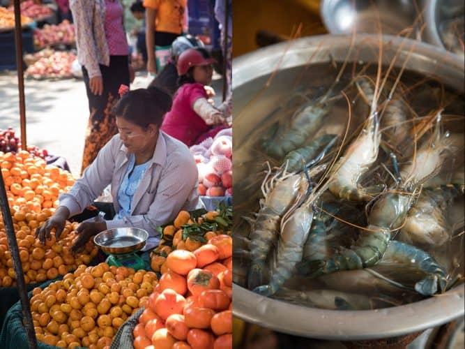 Étal de fruits et crevettes d'eau douce, Mandalay - © 180°C Photographie Camille Oger