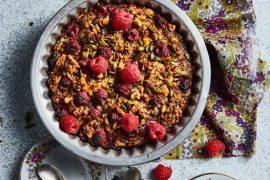 Gâteau aux flocons d'avoine et framboises