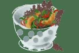 Poulet frit en salade