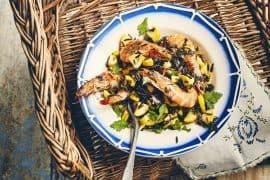 Salade de riz noir, courgette et crevettes sautées 3