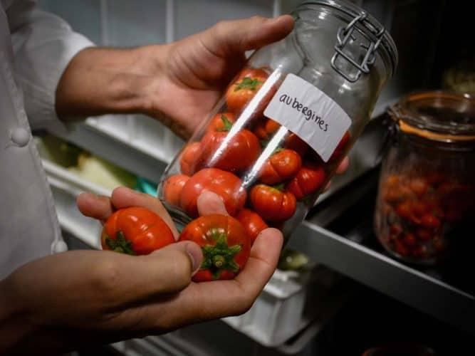 Aubergines colorées dans les mains de Romain Meder - © 180°C - Photographie Manu Rodriguez