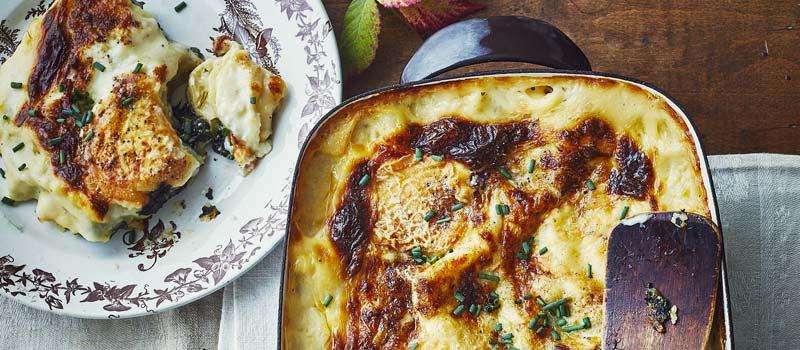 Lasagnes aux épinards et chabichou