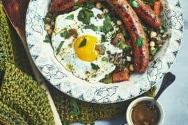 Frichti aux lentilles, merguez et œufs au plat 2