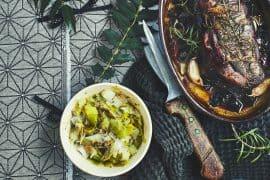 Magrets rôtis et farcis aux fruits secs et fondue de poireaux 3