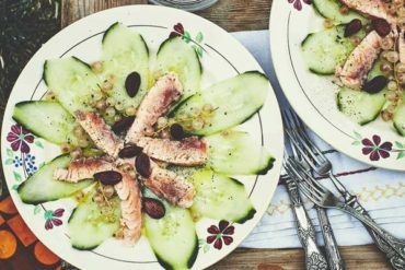 carpaccio de concombre et saumon