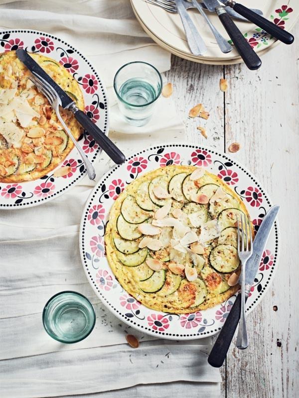 Rosace de courgette en omelette