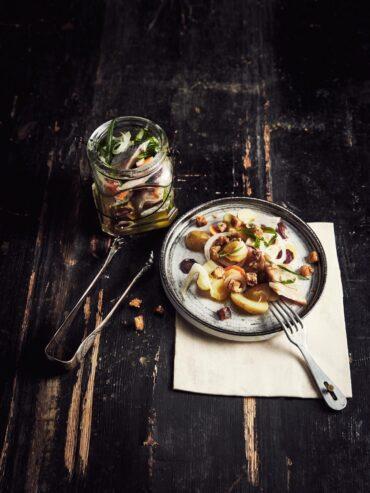 Hareng et pommes de terre mentholées à l'huile